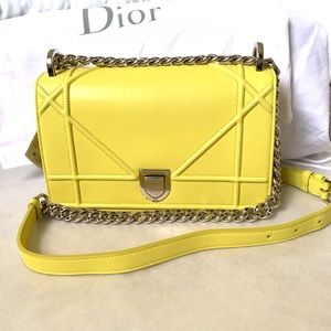 DIOR ☀️ Diorama Bag Small Lambskin Yellow Silver